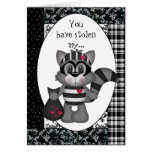 Cartoon Raccoon Valentine's Day Greeting card