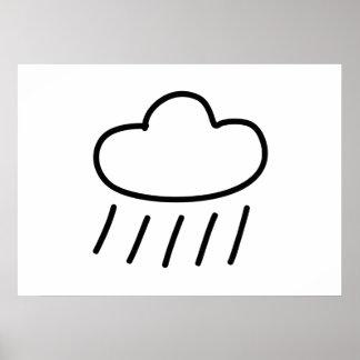 Cartoon Rain Cloud Print