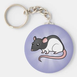 Cartoon Rat Basic Round Button Keychain