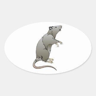 Cartoon Rat Oval Stickers