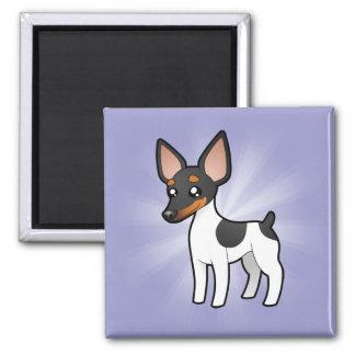 Cartoon Rat Terrier / Toy Fox Terrier 2 Inch Square Magnet