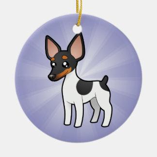 Cartoon Rat Terrier / Toy Fox Terrier Ceramic Ornament