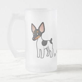 Cartoon Rat Terrier / Toy Fox Terrier Frosted Glass Beer Mug