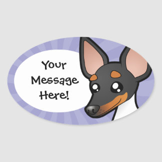 Cartoon Rat Terrier / Toy Fox Terrier Oval Sticker
