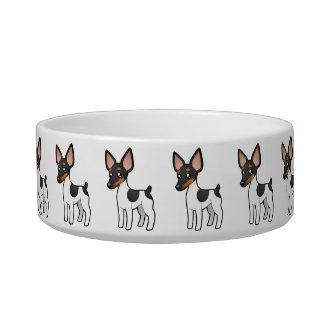 Cartoon Rat Terrier / Toy Fox Terrier Cat Food Bowl