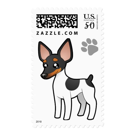Cartoon Rat Terrier / Toy Fox Terrier Postage