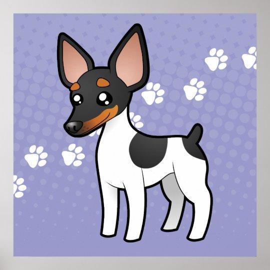 Cartoon Rat Terrier / Toy Fox Terrier Poster