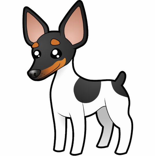 Cartoon Rat Terrier / Toy Fox Terrier Statuette