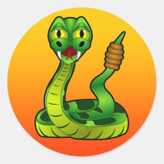 cartoon rattlesnake classic round sticker
