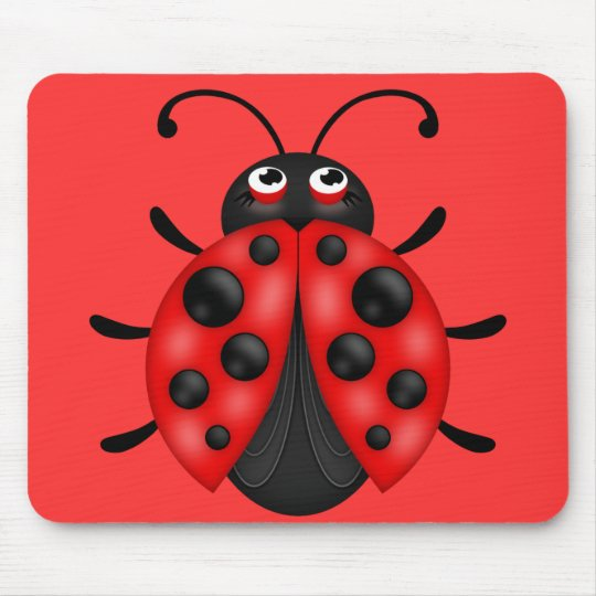 Cartoon Red Black Ladybug Mousemat Mouse Pad