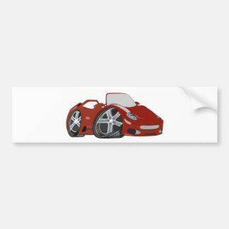 Cartoon Red Car Art Bumper Sticker