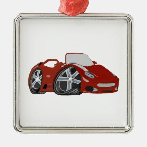 Cartoon Red Car Art Christmas Tree Ornaments