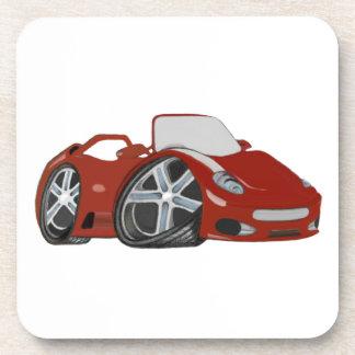 Cartoon Red Car Art Beverage Coasters