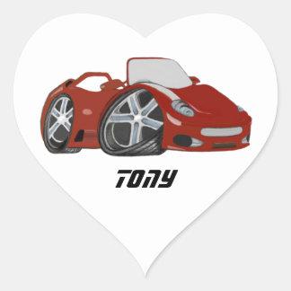 Cartoon Red Car Art Heart Sticker