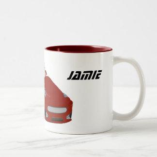 Cartoon Red Car Art Two-Tone Coffee Mug