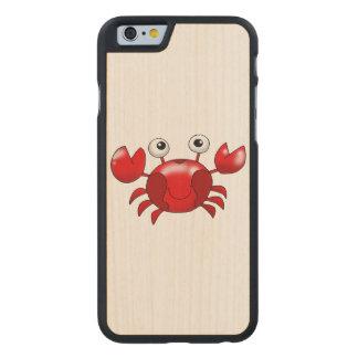 Cartoon red crab carved maple iPhone 6 slim case