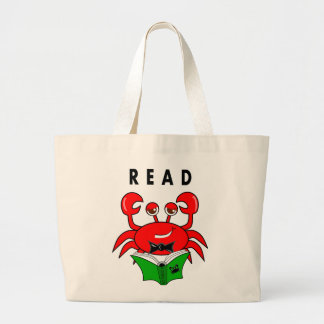 Cartoon Red Crab Reading a Book ABout Crabs Jumbo Tote Bag
