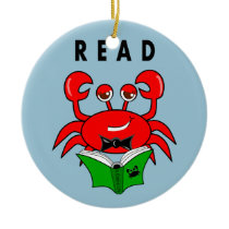 Cartoon Red Crab Reading a Book ABout Crabs Ceramic Ornament