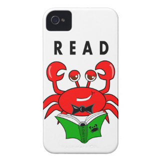 Cartoon Red Crab Reading a Book ABout Crabs iPhone 4 Case-Mate Case