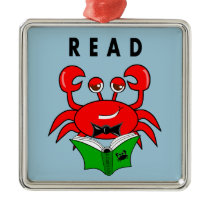 Cartoon Red Crab Reading a Book ABout Crabs Metal Ornament