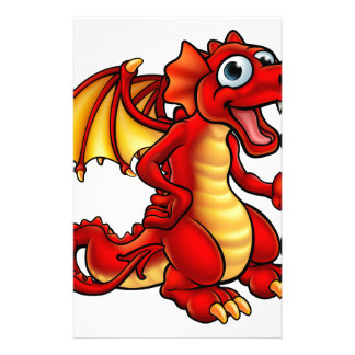 Cartoon Red Dragon Stationery