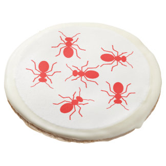 Cartoon Red Fire Ants Crawling on Sugar Cookie