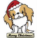 Cartoon Red Japanese Chin Christmas Ornament Cut Out