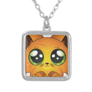 Cartoon red kitten square pendant necklace