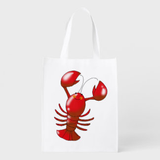 cartoon red lobster reusable grocery bags