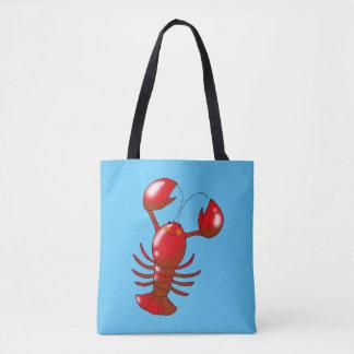 cartoon red lobster tote bag