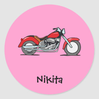 Cartoon Red MotorCycle - MotorBike Classic Round Sticker