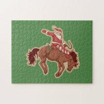 Cartoon red santa claus ryding on horse jigsaw puzzle