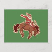 Cartoon red santa claus ryding on horse postcard