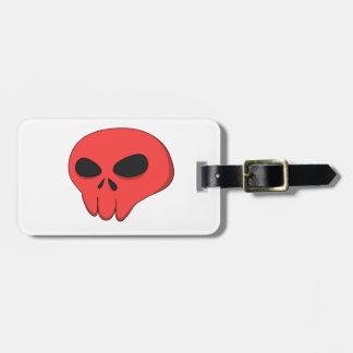 cartoon red skull bag tag
