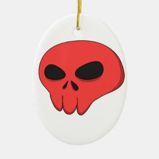 cartoon red skull ceramic ornament