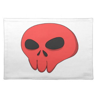 cartoon red skull cloth placemat