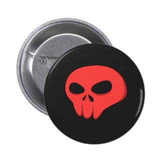 cartoon red skull dark background pinback button