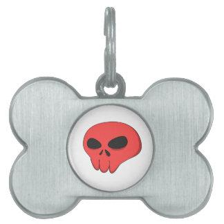 cartoon red skull pet name tag