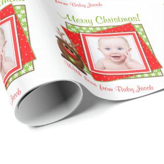 Cartoon Reindeer Baby Photo Personalized Christmas Gift Wrap
