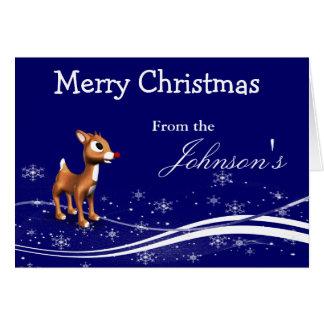 Cartoon Reindeer Christmas Greeting Card
