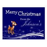 Cartoon Reindeer Christmas Greeting Postcard