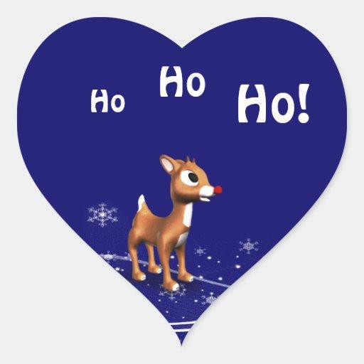Cartoon Reindeer Christmas Heart Sticker