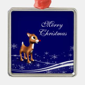 Cartoon Reindeer  Christmas Metal Ornament