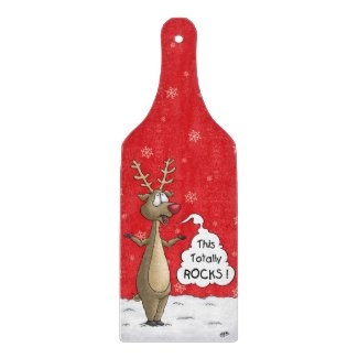 Cartoon Reindeer Cutting Board