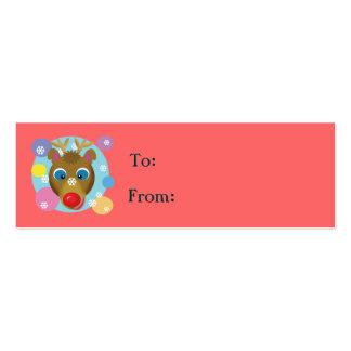 Cartoon Reindeer Gift Tags Business Cards
