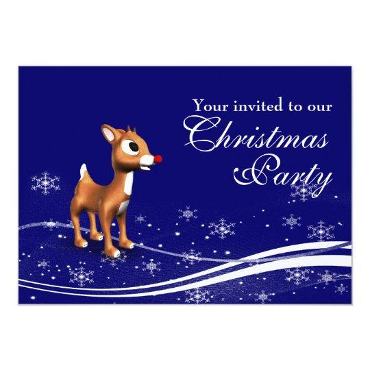 Cartoon Reindeer & Santa Claus Christmas Party Card