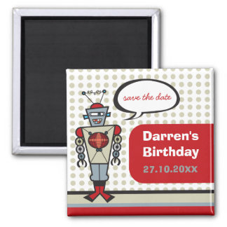 Cartoon Retro Robot Cute Kids Boy Birthday Party 2 Inch Square Magnet
