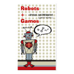 Cartoon Retro Robot Cute Kids Boy Birthday Party Double-Sided Standard Business Cards (Pack Of 100)