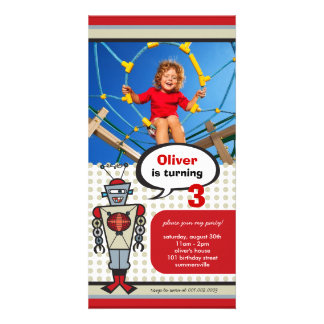 Cartoon Retro Robot Cute Kids Boy Birthday Party Card