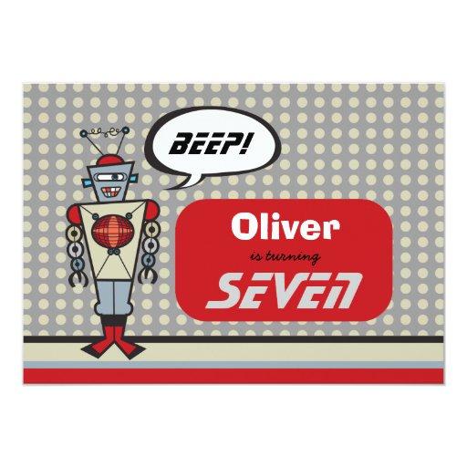 Cartoon Retro Robot Cute Kids Boy Birthday Party 5x7 Paper Invitation Card